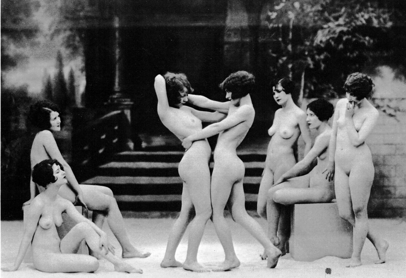 Naked women playing with each other