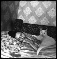 ... (Shilinn) Tags: portrait bw black 6x6 girl night bed room pentacon     sixtl 12800