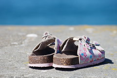 Once more, before summer ends (A Different Perspective) Tags: pink blue newzealand flower beach water floral girl concrete shoe child wellington buckle sandal islandbay adp:posted=2008