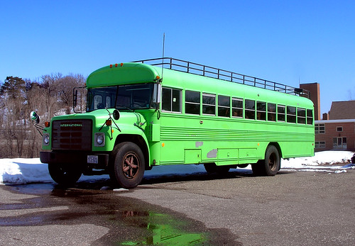 A green bus, lower case