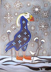 January puffin (KipikArt) Tags: blue winter snow canada cold bird motif pencils painting snowflakes folkart snowy january freezing puffin watercolour northern patern folky