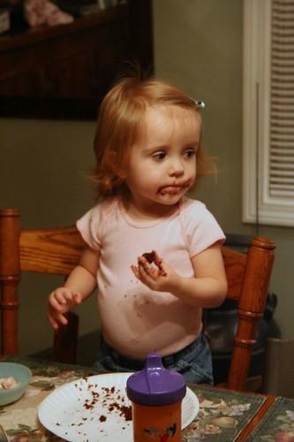 Lani enjoying some cake and sorbet