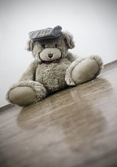 DAY 88 - Sliding Bear (~jds eva~) Tags: bear reflection hat yellow toy teddy fuzzy cap teddybear bangsi