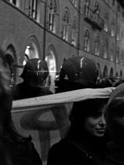 Protezione (dalla pioggia) / Protection (from the rain) (Michele Massetani) Tags: people get noiretblanc ready ferrara manifestazione bwemotions inconcepibile