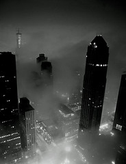 Foggy Chicago @ Chicago & Michigan Ave. in B&W (doug.siefken) Tags: city urban blackandwhite bw white chicago black art rain weather fog skyline architecture night buildings painting geotagged lights moving still artwork flickr downtown cityscape foto arty place image doug foggy cities favorites images uptown photograph r fotos parkhyatt trumptower douglas nite stills urbanscape streeterville chicagoskyline urbanscapes johnhancockcenter jhc citscapes chicagoan siefken dougsiefken douglasrsiefken