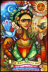 Paloma Negra ( Frida full ) (Estaba El Senhor InigoDeloyola) Tags: flowers woman sun art history colors birds work mexico flickr drawing folk pastel vivid frida loveit heroine estrellas oil tribute symbols soe kahlo