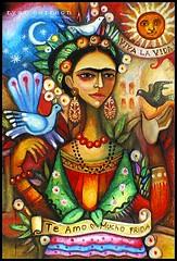 Paloma Negra ( Frida full ) (Estaba El Senhor InigoDeloyola) Tags: flowers woman sun art history colors birds work mexico flickr drawing folk pastel vivid frida loveit heroine estrellas oil tribute symbols soe kahlo