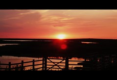lost and saved (BedBrochFlick) Tags: sunset england fence coast norfolk cley