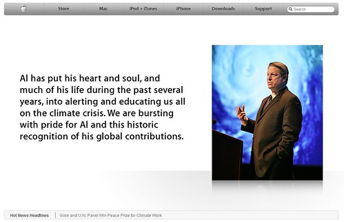 Apple.com Top page message with Al Gore, The 2007 Nobel Peace Prize