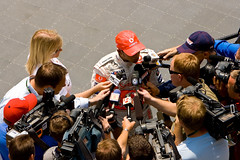 All Eyes on Lewis (ChrisMRichards) Tags: camera one mercedes 1 video media indianapolis united hamilton reporter lewis indy grand f1 prix mclaren videocamera formula microphone vodafone states usgp press interview journalist brickyard