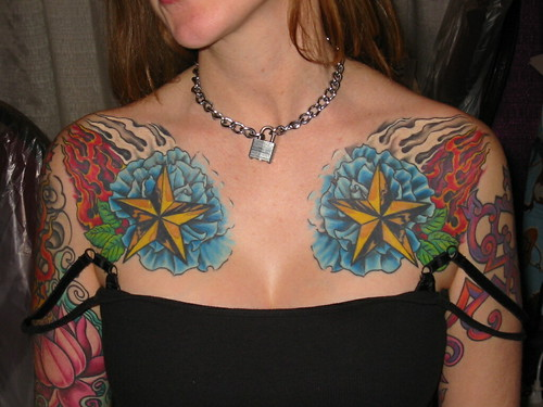 Flower Tattoo With Stars. Stars, Flames, Flowers