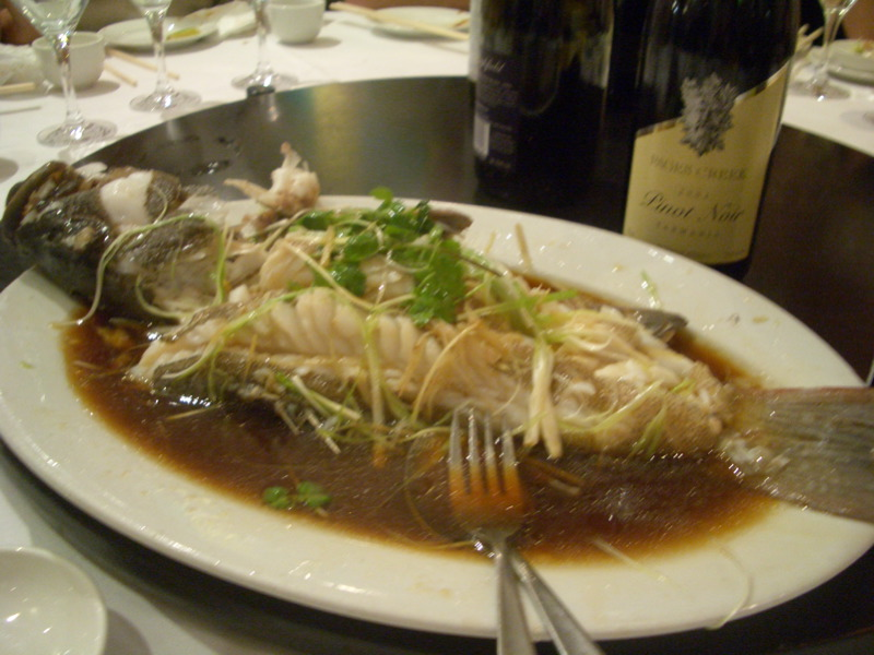 Fish steamed with ginger, lemongrass and soy