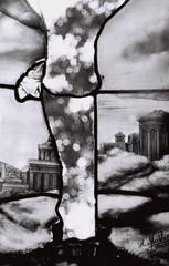 père Lachaise (trvbaker) Tags: paris slr art classic broken glass cemetery graveyard mystery 35mm greek death grey mort signature cementerio romance muerte nostalgia romantic classical perelachaise firma vidrio roto misterio cimitiere