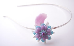Purple, Blue and White Vintage Flowers Headband
