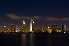 Downtown San Diego (Caleb Keiter) Tags: city longexposure water skyline downtown cityscape framed citylights printed canonef2470mmf28lusm sandiegoca sandiegobay aclass enlargements canoneos40d canon40d photostosmileabout nightskycloudsbuildingsskyscraperscoronadoislandview