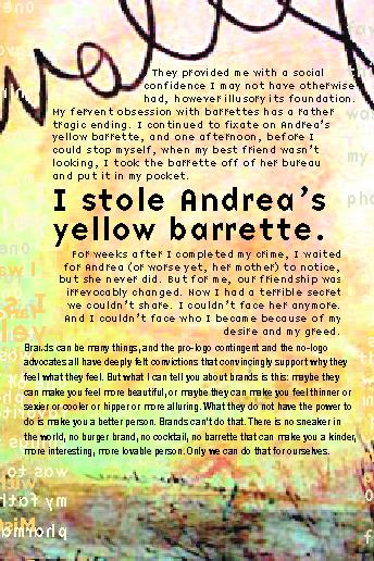 i stole andrea's yellow barrette