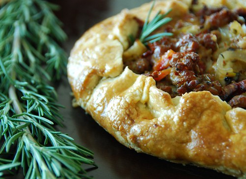 savory sausage, fennel, and sun-dried tomato galette