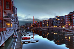 My New Red Sports Car (Philipp Klinger Photography) Tags: blue houses red sky plant sports water car night clouds buildings reflections river germany deutschland lights pier boat hessen shot frankfurt main hour heat philipp westhafen hesse klinger dcdead