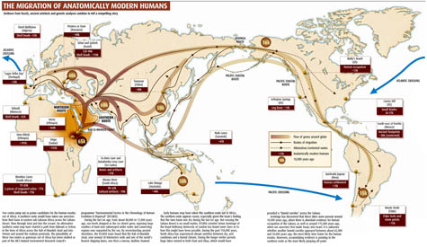 Image a map of possible human migration routes out of africa and the