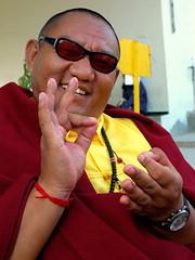 Having fun with Khenpo GaGa, a mudra - Tharlam Monastery  Nepal - by Wonderlane