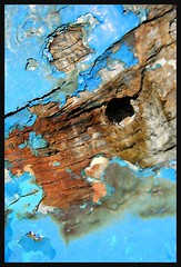 blue and red landscape (Eibhilin Crossan) Tags: old blue ireland sea abstract texture galway beach landscape boat rust connemara peelingpaint wreck carna