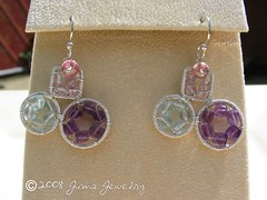 Circles and Square Earrings on display2 (jumajewelry) Tags: pink blue square wire handmade african circles wrapped earrings amethyst topaz juma