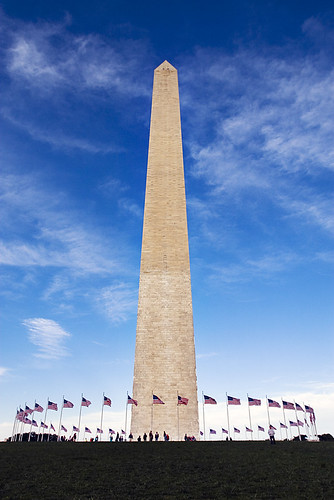 As symmetrical, straight-on a shot of the Washington Monument as I can get without a tripod and about two hours of composing. Id never visited the monument before, but this is about as close as I intend to get for a while.