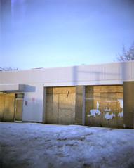 (iris.grimm) Tags: blue winter sky urban snow abandoned boardedup dianacamera plywood