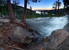 Elements of Life - Panorama (David Shield Photography) Tags: california sunset sky panorama lake color tree nature water rock landscape evening waterfall nikon laketahoe nationalforest explore emeraldbay easternsierras eaglefalls