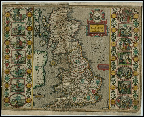 Britain at the time of the Saxon Heptarchy - John Speed proof maps 1605-1610