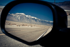 Mountains in the rear view mirror ... (hermez) Tags: california street blue sky usa mountains reflection landscape highway sunny roadtrip rearviewmirror emptiness owenslake canoneos5d olancha chevytahoe canonef17404lusm usa2011 cosorangewildernessarea