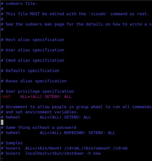 Fig. 3 - attivazione comando sudo - contenuto file sudoers