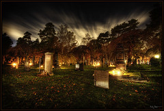 Haunted (Kaj Bjurman) Tags: night dark eos sweden stockholm cemetary graves hdr solna kaj cs3 photomatix 40d hdratnight bjurman