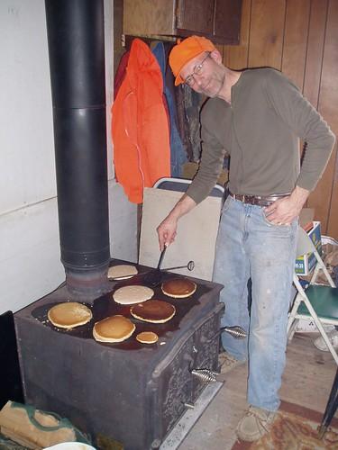 making pancakes on the woodburning stove