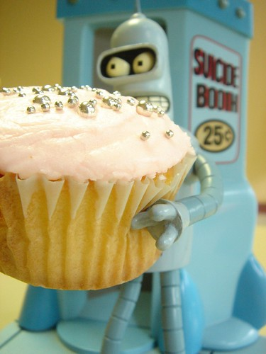 bender and pink cupcake by hello naomi