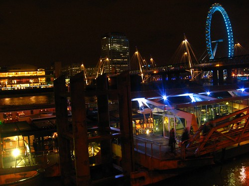 London - A night view from the Thames