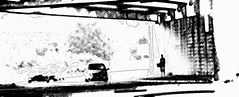 (ctanstfl) Tags: blackandwhite bw man cars silhouette photoshop underpass kentucky ky louisville panhandler bardstown bardstownroad i265 genesnyderexpressway