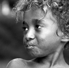 Vanuatu kid I (dxus) Tags: portrait people bw beach closeup kid nikon child d70s santo vanuatu espiritusanto blueribbonwinner
