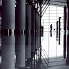 departures - tbilisi international airport (chirgy) Tags: travel bw reflections georgia airport waiting fuji scan trips neopan 16 countdown tbilisi cn400 თბილისი საქართველო pentaxespio120mi
