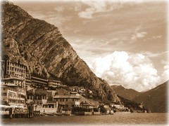 Panorama (Kiky01) Tags: sky italy panorama mountain lake seascape building love sepia clouds vintage landscape garda emotion sweet peaceful nostalgia romantic feeling draw lombardia experimenting italians limonesulgarda mywinners anawesomeshot italianflickrworld