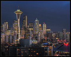 Another Seattle shot from Kerry Park (HDR) (KellBailey) Tags: seattle city skyline night washington pix pics pic spaceneedle kerrypark hdr mse 3xp seattleflickrmeetup 3exp explord hccity clusterclick