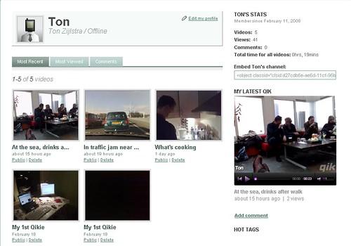 Qik screenshot of profile page