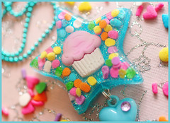 Lucy In The Sky With Cupcakes (stOOpidgErL) Tags: blue food glitter star diy necklace rainbow candy heart sweet handmade craft jewelry charm plastic cupcake sprinkles resin dots pendant iloveit stoopidgerl colourartaward