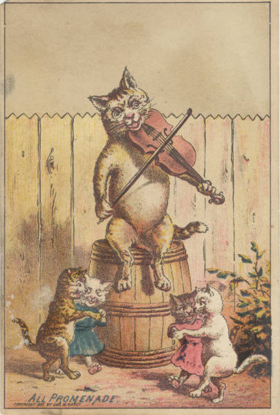 cat playing fiddle while other cats dance