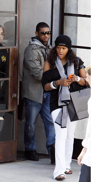 usher & his wife