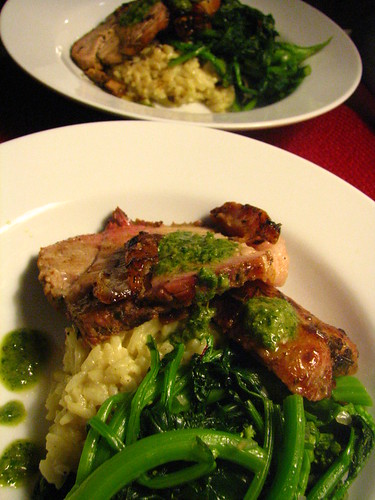 Roasted Pork with Salsa Verde, Risotto and Broccoli di Rape