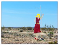 Desert Delilah (not a self-portrait) (Cheap Camera Tricks) Tags: california wood red sky yellow female desert figure antelopevalley reddress kerncounty kcusa