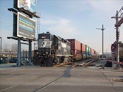 Northbound Norfolk Southern intermodal transfer train crossing South Archer Avenue near Chicago's Midway Airport.