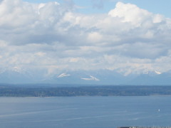 Seattle's Elliott Bay and the Olympic Mountains on a cloudy day