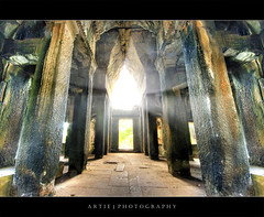 The Shine of Angkor Wat :: HDR (:: Artie | Photography ::) Tags: building classic stone architecture stairs photoshop canon temple ancient sandstone cambodia khmer state cs2 steps wideangle angkorwat structure symmetry handheld symmetrical 1020mm siemreap pillars hdr artie angkorvat 12thcentury 3xp sigmalens photomatix tonemapping tonemap 400d rebelxti suryavaman